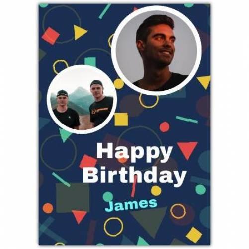 Happy Birthday 2 Photos Shapes Card