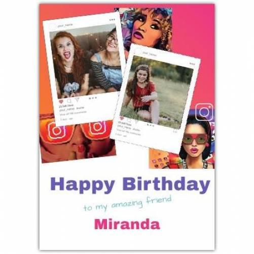 Happy Birthday Instagram Theme 2 Photos Card