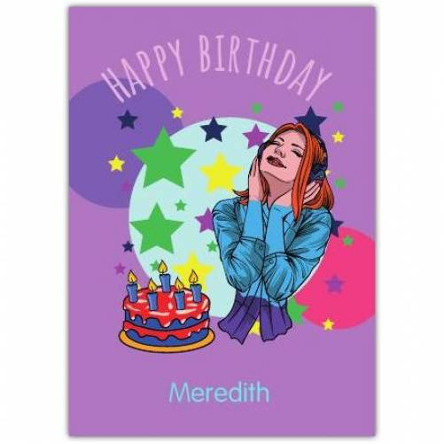 Happy Birthday Girl Listening To Music With Cake  Card
