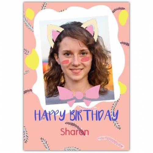 Happy Birthday Cat Ears And Bow Card