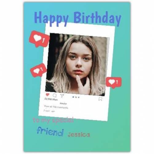 Happy Birthday Instagram Photo Frame  Card