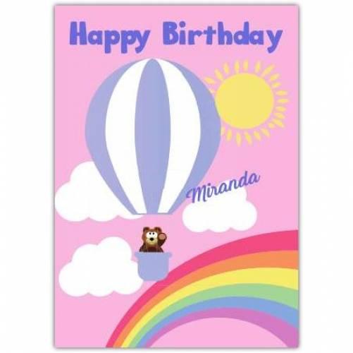 Happy Birthday Hot Air Balloon And Rainbow  Card