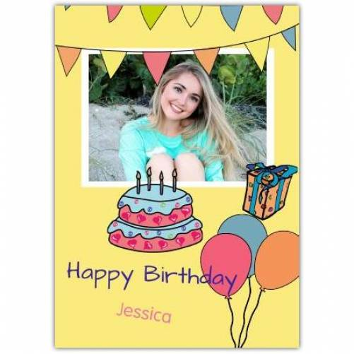 Happy Birthday Yellow Background With Banners And Cake Card