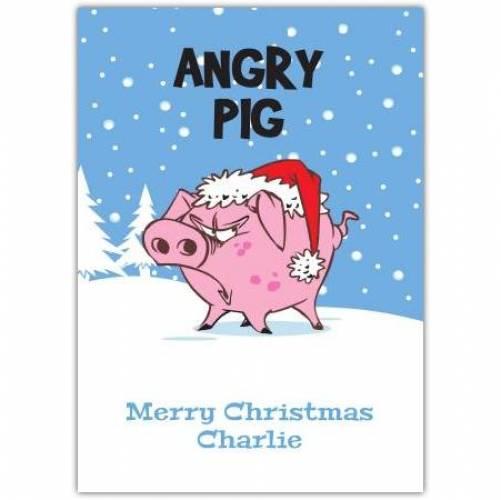 Angry Pig Merry Christmas Card
