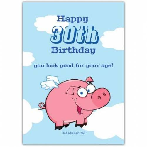 Pigs Fly Happy Birthday Greeting Card