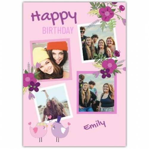 Happy Birthday 4 Photos With 2 Birds Kissing And Flowers Card
