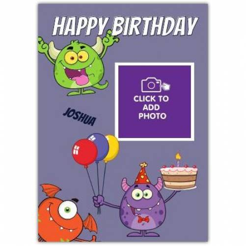 Monster One Photo Happy Birthday Card