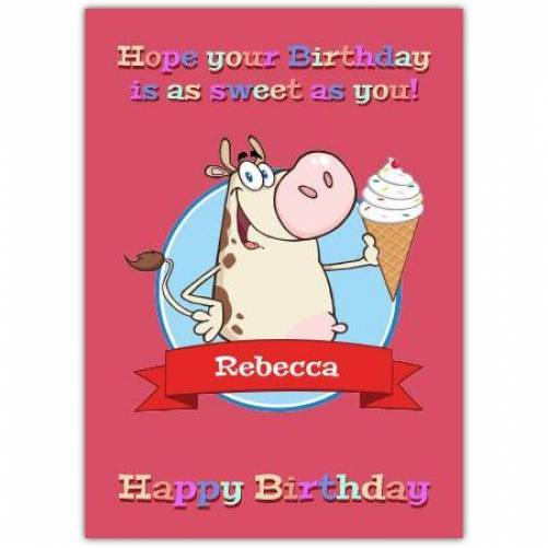 Birthday As Sweet As You Happy Birthday Card