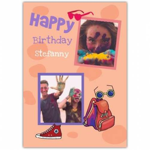 Happy Birthday 2 Photos Backpack Shoes And Sunglasses  Card