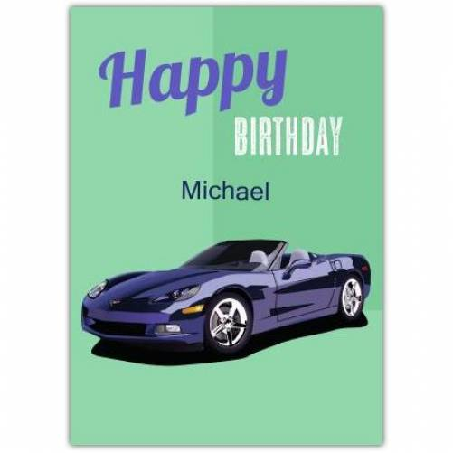 Happy Birthday Green Background And Sports Car Card