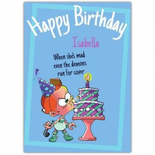 Happy Birthday Little Girl Blowing Out Candle Card