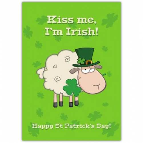 Sheep Kiss Me I'm Irish Patrick's Day Card