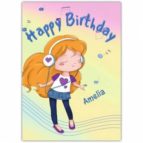 Girl With Headphones Teenager Happy Birthday Card