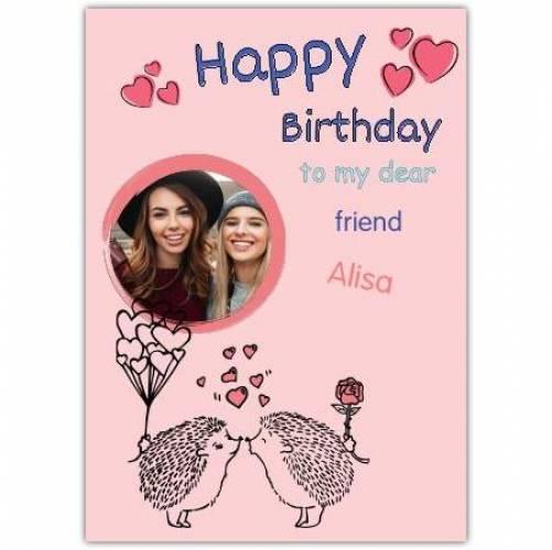Happy Birthday 2 Hedgehogs Kissing  Card