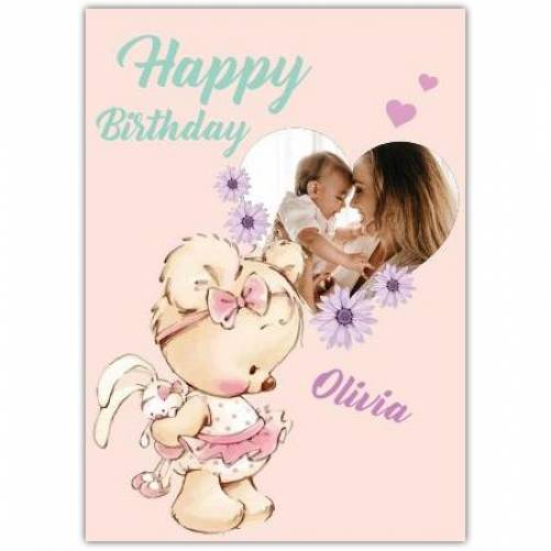 Happy Birthday Heart Photo Frame And Teddy With Bow Card