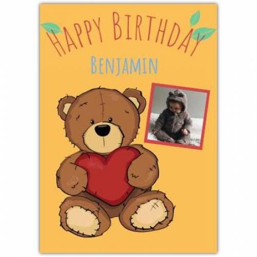 Happy Birthday Big Teddy Holding A Heart Card