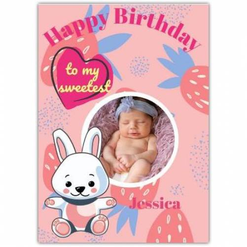Happy Birthday Pink Strawberries And Bunny  Card