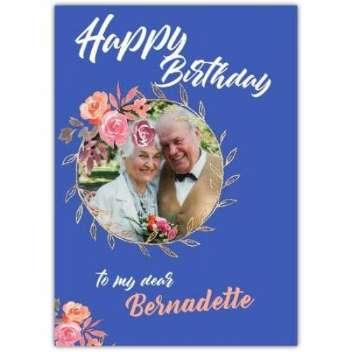Happy Birthday Round Photo Frame With Flowers Card