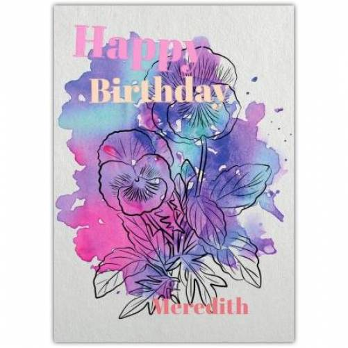 Purple & Pink Watercolour Floral Happy Birthday Card