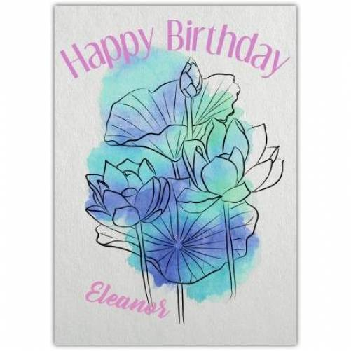 Aqua Watercolour Floral Happy Birthday Card