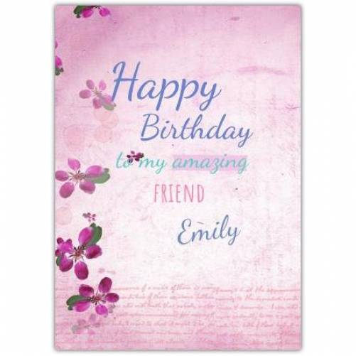 Happy Birthday Pink Flowers  Card