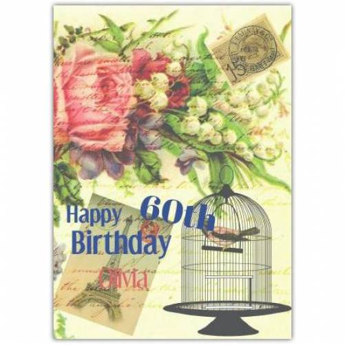 Happy 60th Birthday Bird Cage And Flowers Card