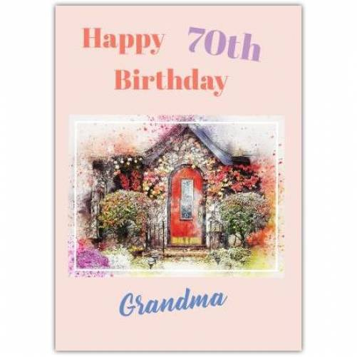 Happy 70th Birthday Little Cottage Card