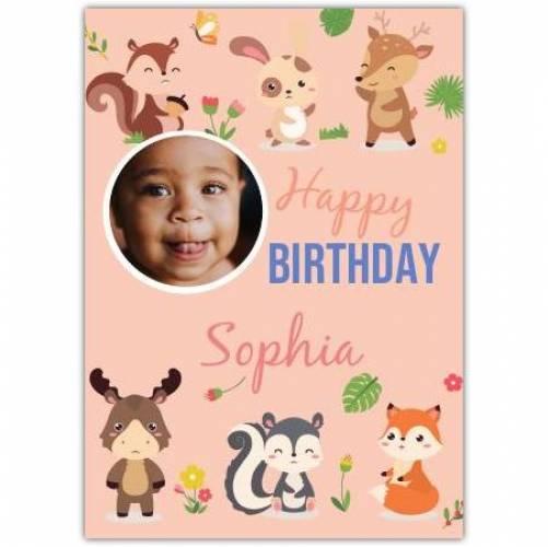 Happy Birthday Cute Animals Pink Card