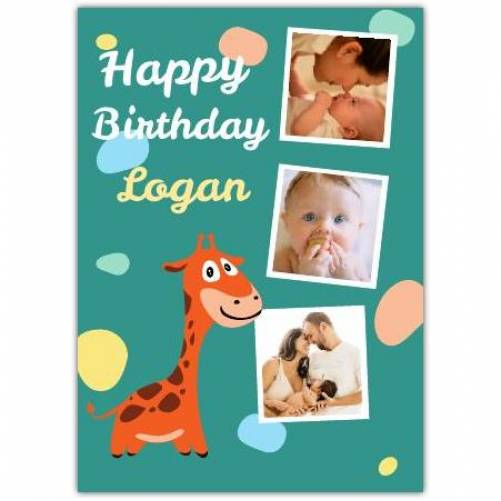 Giraffe Three Photo Baby Birthday Card
