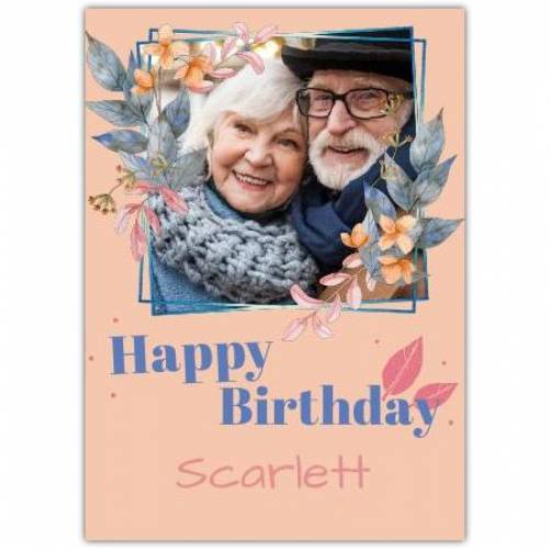 Happy Birthday Frame With Flowers  Card