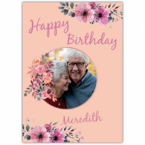Happy Birthday Flowers With Pink Background Card