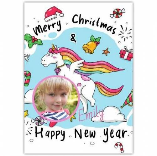 Merru Christmas One Photo Unicorn Greeting Card