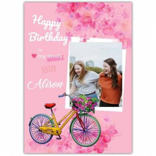 Happy Birthday Bike With Flowers And Photo Card