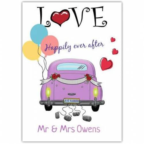 Love Happily Ever After Purple Car Card