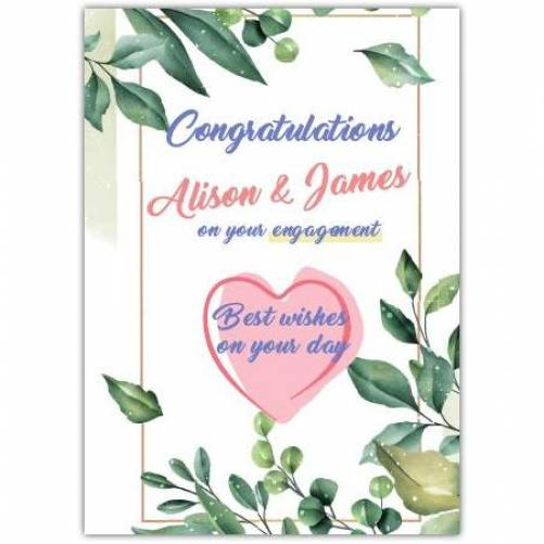 Congratulations Best Wishes On Your Day Pink Heart Green Leaves Card