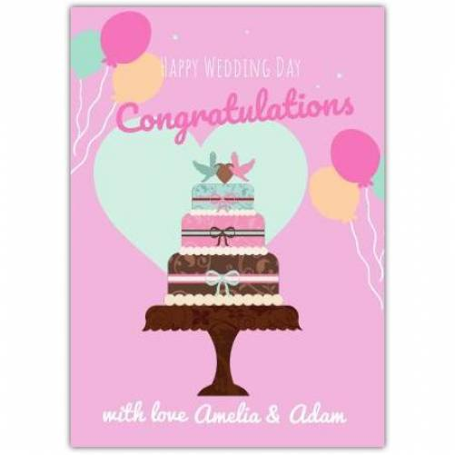 Happy Wedding Day Congratulations Wedding Cake With LoveCard Card