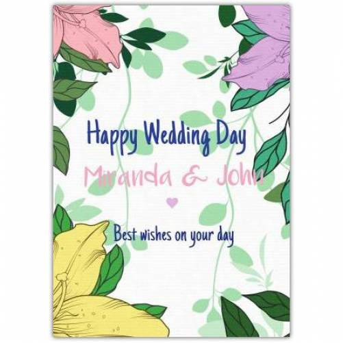 Happy Wedding Day Names Best Wishes On Your Day Card