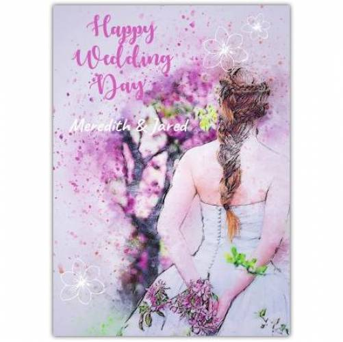 Happy Wedding Day Bride Purple Names Card