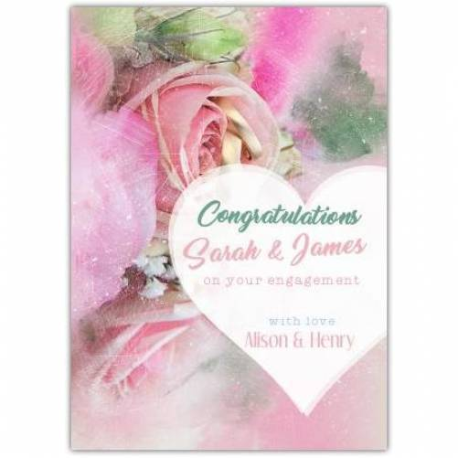 Congratulations On Your Engagement White Heart Names And Date Card