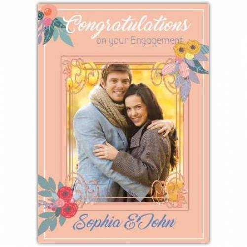 Congraulations On Your Engagement Peach With Photo And Names Card