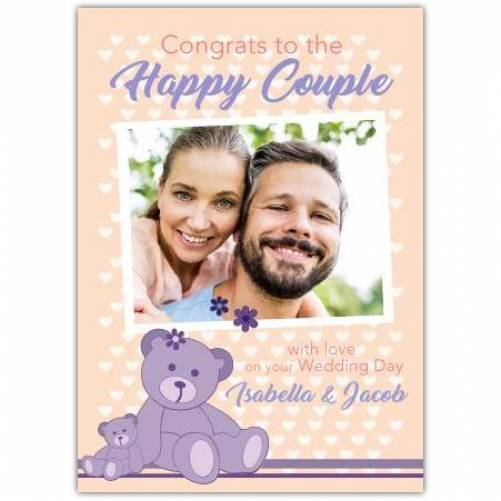 Congrats To The Happy Couple With Love Purple Bear And Photo Card