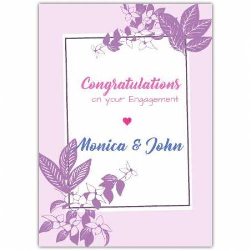 Congratulations On Your Engagement Names In Purple Leaves Card