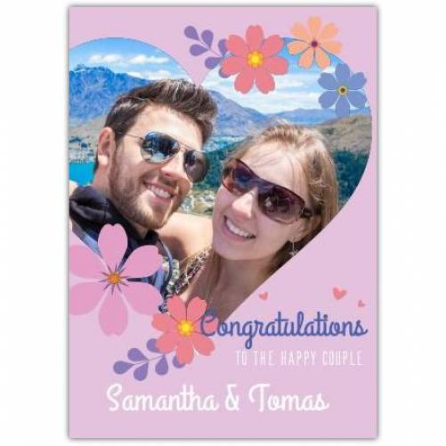 Congratulations To The Happy Couple Photo In Heart Flowers Names Card