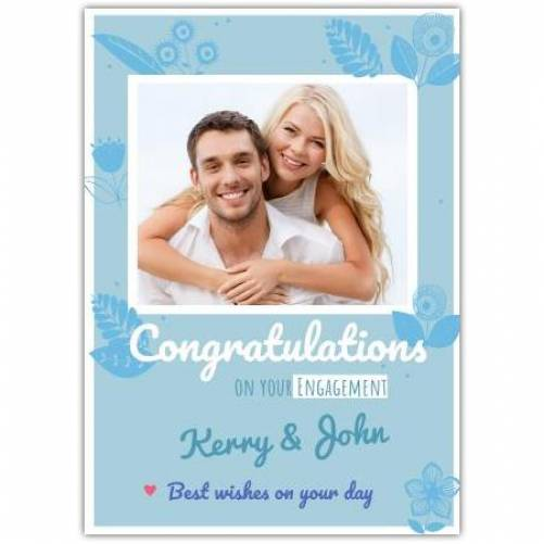 Congratulations On Your Engagement Blue Square Photo Best Wishes Card