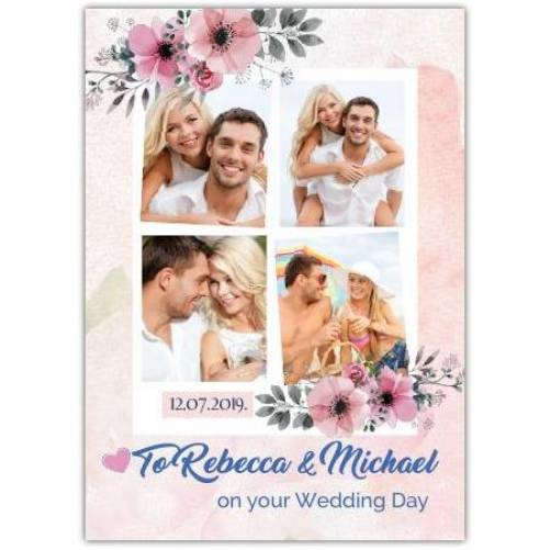 On Your Wedding Day Date And Four Photos In Squares Card