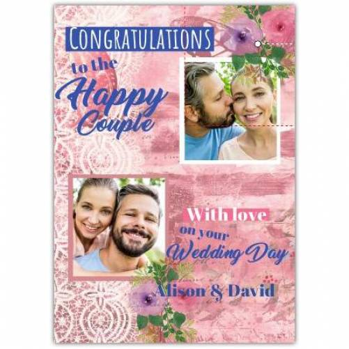 Congratulations To The Happy Couple Two Sqaure Photos With Love Card