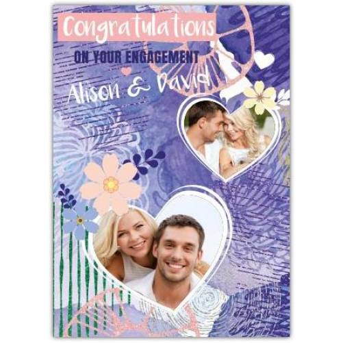 Congratulations On Your Engagement Two Heart Photos Purple Card
