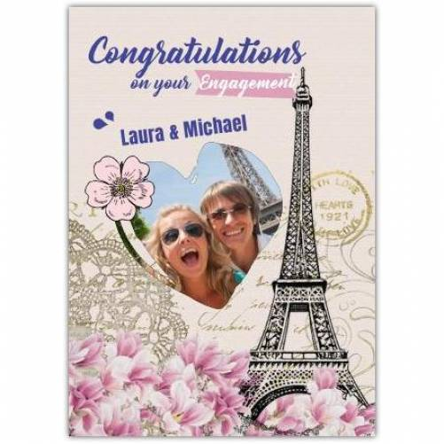 Congratulations On Your Engagement Eiffel Tower Photo Card
