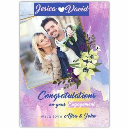 Congrats On Your Engagement Photo With Love From Purple Card