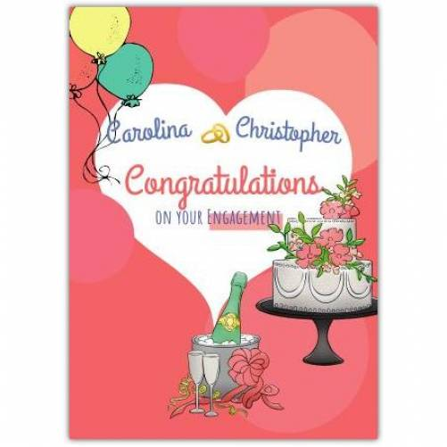 Congratulations On Your Engagement Wedding Cake And Champagne Names Card